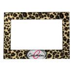 Monograma del estampado leopardo marcos magnéticos para fotos