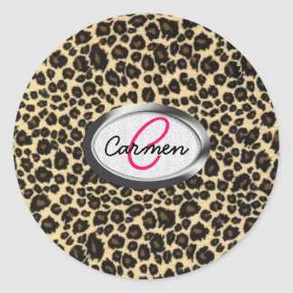 Monograma del estampado leopardo pegatina redonda