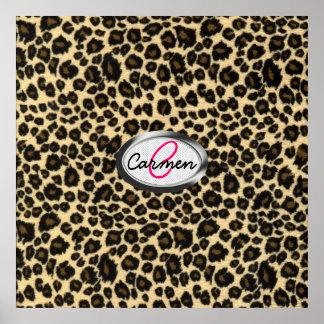 Monograma del estampado leopardo póster