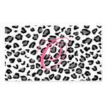 monograma del estampado leopardo tarjeta de visita