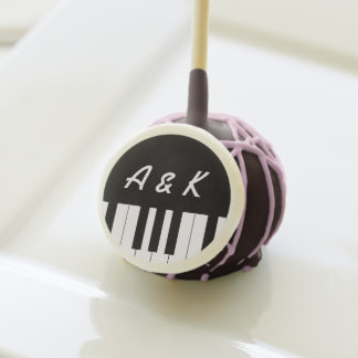 Monograma del favor del boda del teclado de piano