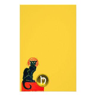 MONOGRAMA DEL FIESTA DEL CAT NEGRO HALLOWEEN PAPELERIA