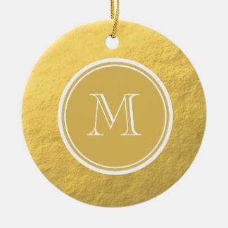 Monograma del fondo de la hoja de oro del encanto adorno de navidad