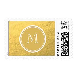 Monograma del fondo de la hoja de oro del encanto estampilla