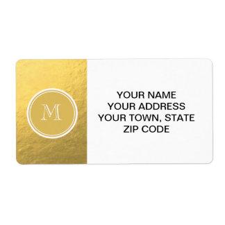 Monograma del fondo de la hoja de oro del encanto etiqueta de envío