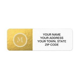 Monograma del fondo de la hoja de oro del encanto etiqueta de remitente