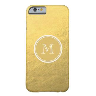 Monograma del fondo de la hoja de oro del encanto funda de iPhone 6 barely there