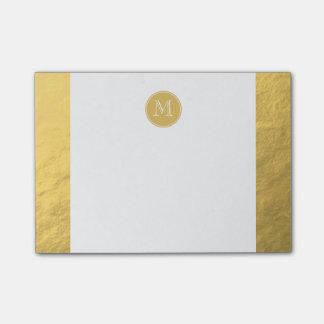 Monograma del fondo de la hoja de oro del encanto notas post-it®