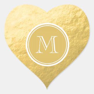 Monograma del fondo de la hoja de oro del encanto pegatina en forma de corazón