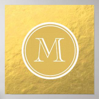 Monograma del fondo de la hoja de oro del encanto póster