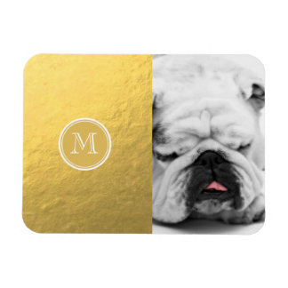Monograma del fondo de la hoja de oro del encanto rectangle magnet