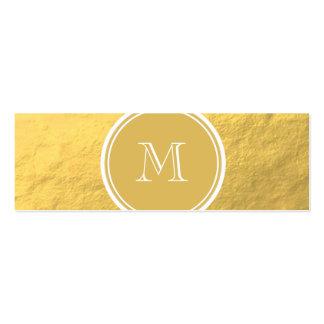 Monograma del fondo de la hoja de oro del encanto tarjetas de visita mini
