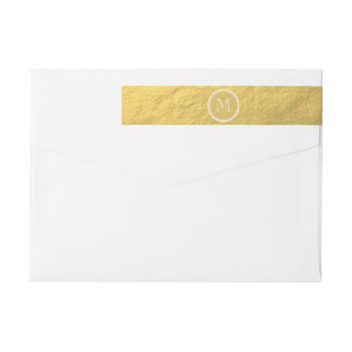 Monograma del fondo de la hoja de oro del encanto etiquetas postales