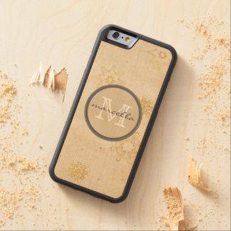 Monograma del fondo de los copos de nieve del oro funda de iPhone 6 bumper arce