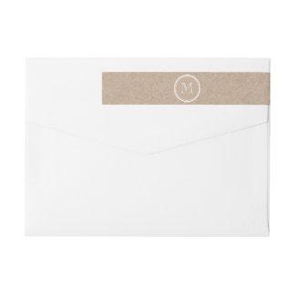 Monograma del fondo del papel de Kraft Etiquetas Envolventes De Remitente