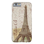 monograma del francés de la torre Eiffel de París Funda De iPhone 6 Barely There