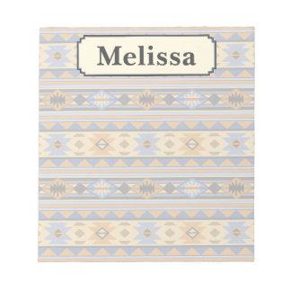 Monograma del gris azul del diseño del sudoeste bloc de notas