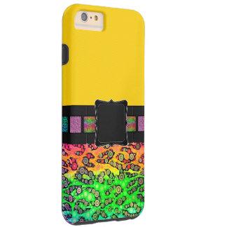Monograma del guepardo del arco iris funda para iPhone 6 plus tough