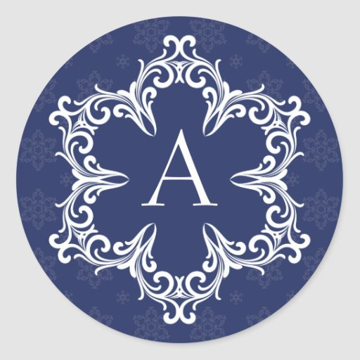 Monograma del invierno un sello en marina de etiqueta redonda