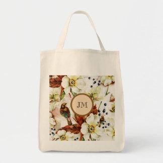 Monograma del jardín del pájaro del país femenino bolsa tela para la compra