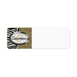 Monograma del leopardo y del estampado de zebra de etiqueta de remite