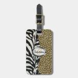 Monograma del leopardo y del estampado de zebra de etiquetas bolsa
