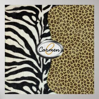 Monograma del leopardo y del estampado de zebra de póster