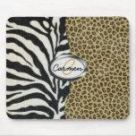 Monograma del leopardo y del estampado de zebra de tapete de raton