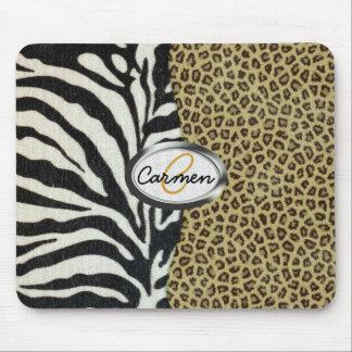 Monograma del leopardo y del estampado de zebra de tapetes de raton