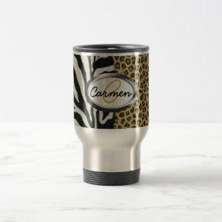 Monograma del leopardo y del estampado de zebra de taza