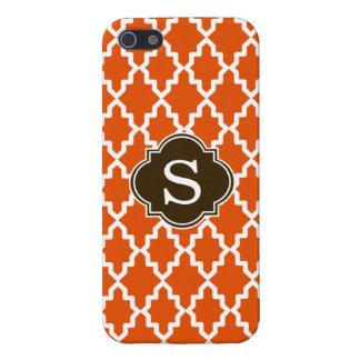 Monograma del marroquí del naranja y de Brown iPhone 5 Carcasas