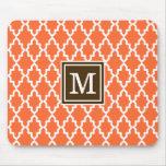 Monograma del marroquí del naranja y de Brown Tapetes De Raton