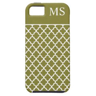 Monograma del marroquí del verde verde oliva iPhone 5 coberturas