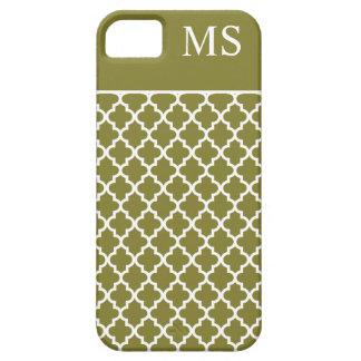 Monograma del marroquí del verde verde oliva iPhone 5 funda