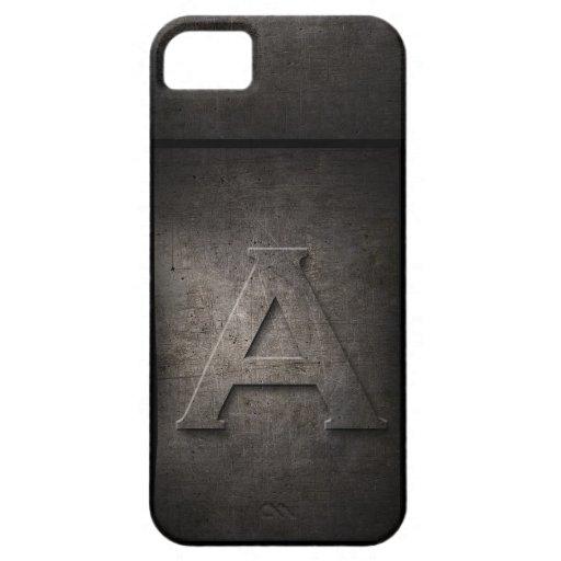 Monograma del metal del Grunge para él caso de iPhone 5 Fundas