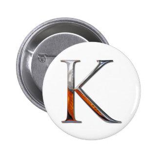 Monograma del metal K Chapa Redonda 5 Cm