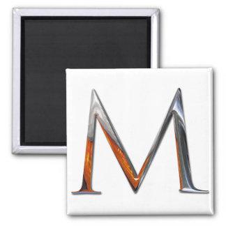 Monograma del metal M Imán Cuadrado