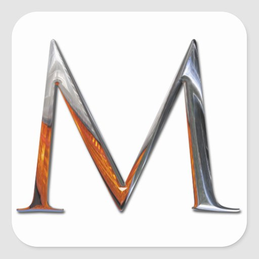 Monograma del metal M Pegatina Cuadrada