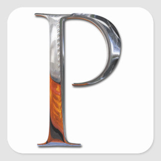 Monograma del metal P Pegatina Cuadrada
