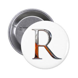Monograma del metal R Chapa Redonda 5 Cm