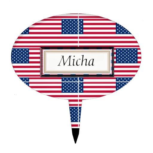 Monograma del modelo de la bandera americana decoraciones de tartas