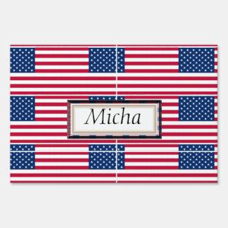 Monograma del modelo de la bandera americana letrero