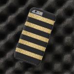 Monograma del modelo de las rayas negras del funda de iPhone 6 tough