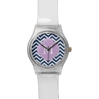 Monograma del modelo de zigzag del azul y de la la relojes de pulsera