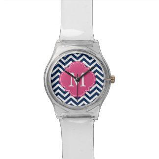 Monograma del modelo de zigzags del azul y de las  reloj de mano