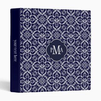 "Monograma del modelo del damasco de los azules carpeta 1"""