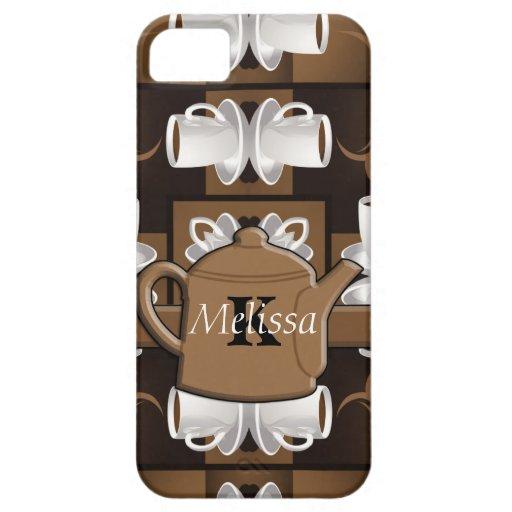 Monograma del mosaico del café del café del café iPhone 5 Case-Mate cárcasa