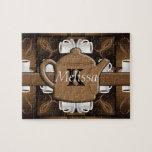 Monograma del mosaico del café del café del café puzzle con fotos