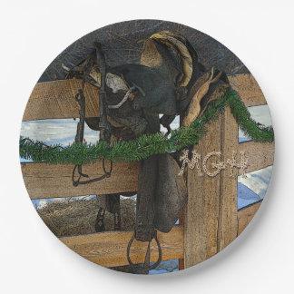 Monograma del navidad del país del rancho plato de papel de 9 pulgadas