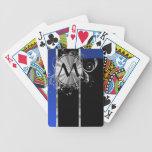 Monograma del negro azul y de la plata baraja de cartas
